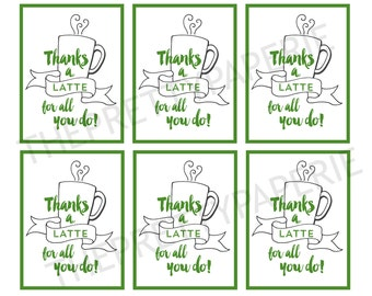 IMMEDIATE DOWNLOAD- Lattte Thank you Gift Giving Labels-Printable PDF