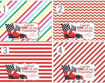 INSTANT Download-Valentine's Day Treat Bag Tags: Race CAR -Printable PDF