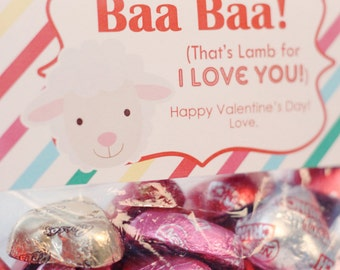 INSTANT Download-Valentine's Day Treat Bag Tags: LAMB-Printable PDF