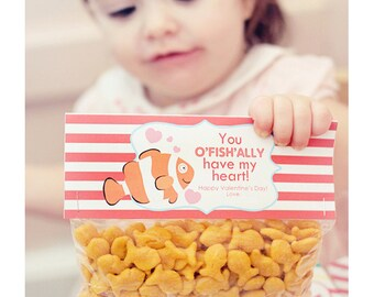 INSTANT Download-Valentine's Day Treat Bag Tags: oFISHally have my Heart -Printable PDF