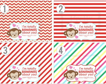 INSTANT Download-Valentine's Day Treat Bag Tags: BANANAS about You! -Printable PDF