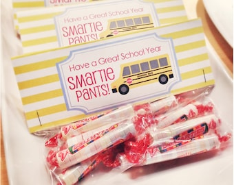 INSTANT Download-Back to School Treat Bag Tags: Smartie Pants! -Printable PDF