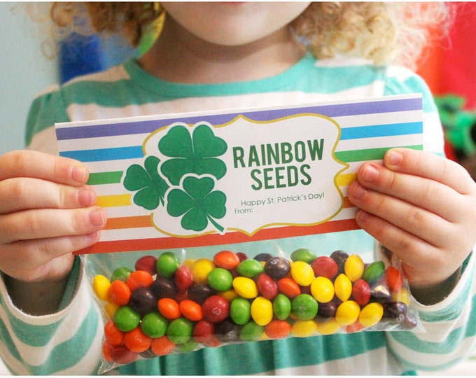 Featured listing image: INSTANT DOWNLOAD-St. Patrick's Day Treat Bag Tags -Rainbow Seeds Printable PDF