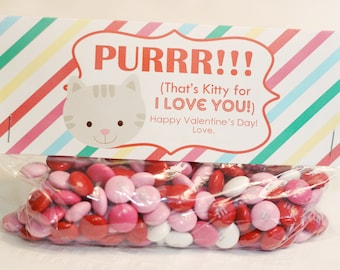 INSTANT Download-Valentine's Day Treat Bag Tags: KITTY-Printable PDF