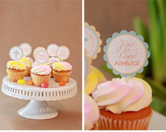 INSTANT Download-Easter Cupcake Toppers/Circle Labels: Jesus is Risen- Printable PDF