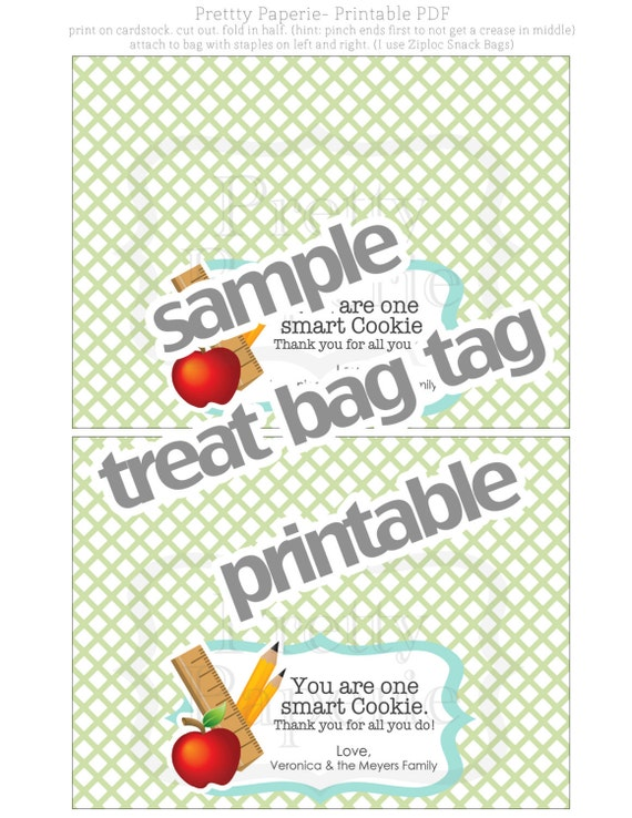 photo relating to You're One Smart Cookie Printable known as Fast Down load-Trainer Reward: A person Intelligent Cookie Deal with Bag Tags - Printable PDF