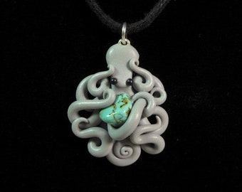 S Pale Gray Octopus Pendant clutching genuine turquoise stone