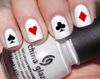 Set of 52 Poker Symbol Card Designs Vinyl Nail Decal Stickers (Multiple Colors Available) Heart Spade Diamond Club Ace King Queen Jack