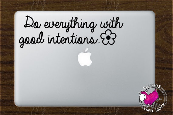 Do Everything With Good Intentions Daisy Quote Vinyl Decal Etsy