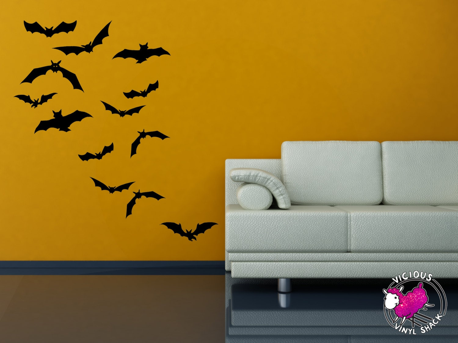 Bats Flying Away Halloween Wall Decal Stickers Multiple | Etsy