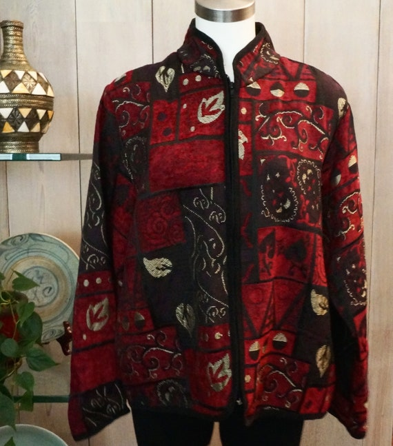 Size XL Free Shipping MARY MCFADDEN Jacket in Burgundy Grey and White