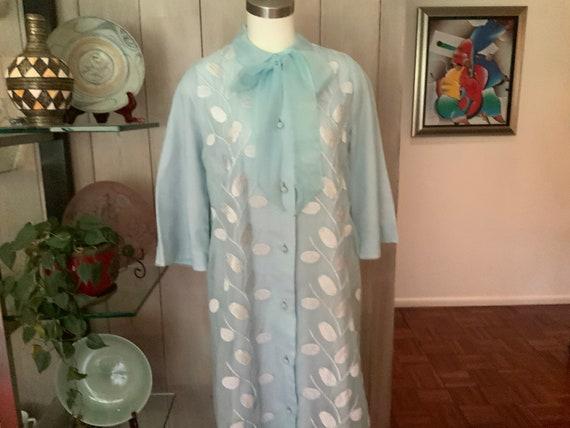 60's FLOBÉRT Baby Blue Button Down Long Robe- Size