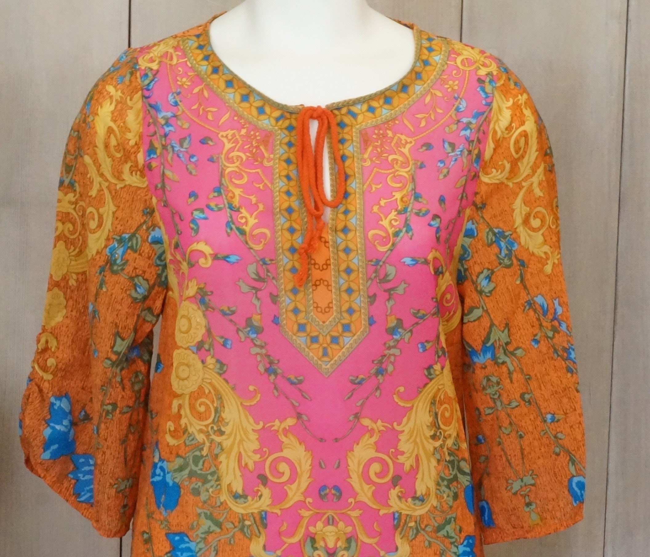 e3771ecd5bc25 Free Shipping! Vtg. Boho Hippie Long Camisole or Dress in Orange ...