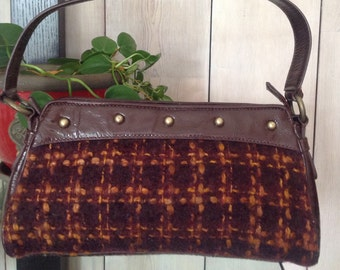 Free Shipping! ADRIENNE VITTADINI Wool Woven Fabric  and Patent Leather Purse