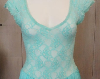 Free Shipping! Vtg. LADY CAMEO Lingerie Turquoise Jumpsuit Romper with See Through Lace Top- Size Small