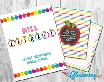 Planner Cover Set Printables Rainbow Apples on White Personalized 3 pc set for use with Erin Condren, Happy Planner, Plum Paper