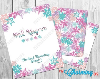 Planner Cover Set Printables - for use with Erin Condren, Happy Planner, Plum Paper - Winter Snowflakes Personalized 3 pc set