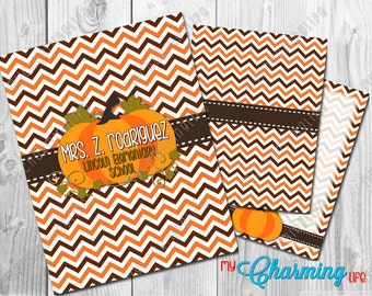 Planner Cover Set Printables -  for use with Erin Condren, Happy Planner, Plum Paper - Fall Pumpkin Chevron Personalized 3 pc set