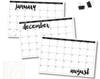 12-month desk or wall calendar // DIGITAL FILE