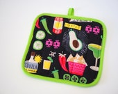 Fiesta Potholder, Tacos and Tequila, Kitchen Accessory, I love Tacos, Housewarming, Gift for Grillers, Quirky Potholder, Quilted Trivet