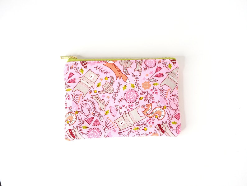 Pink Forest Critters 8x5 zipper bag Quirky Pencil Bag image 0