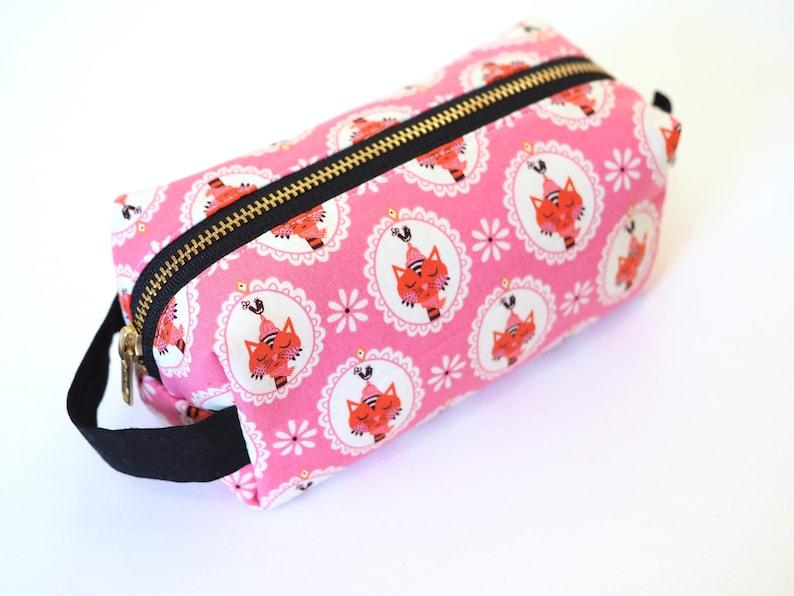 Pink Sassy Cats SMALL Boxy Bag Makeup Bag / Pencil Bag/Art image 0