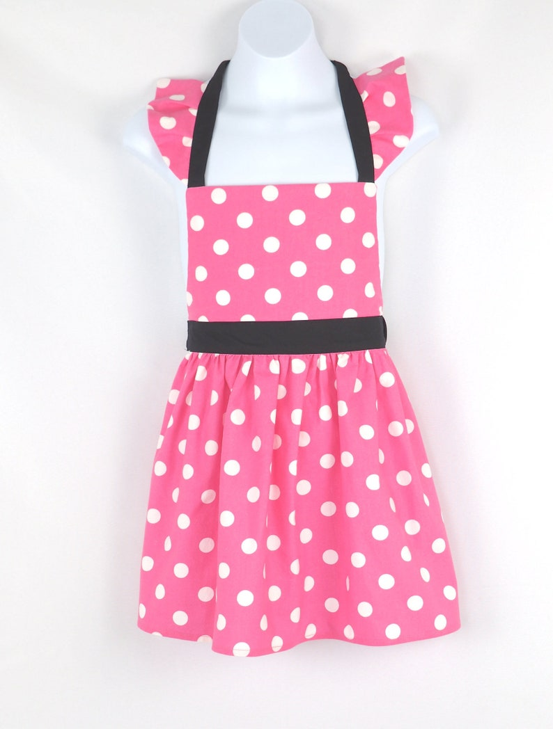 Pink and White Polka Dot Minnie Mouse Children's Apron image 0