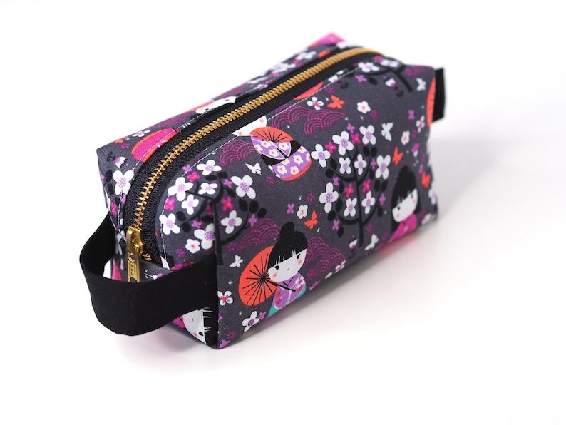 Kokeshi Dolls SMALL Boxy Bag Japanese Dolls Makeup Bag image 0