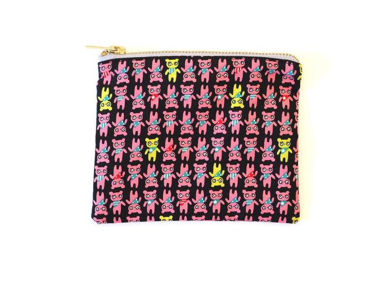 Pink Kawaii Bears Print Metal Zipper Pouch 6x5  Coin Purse image 0