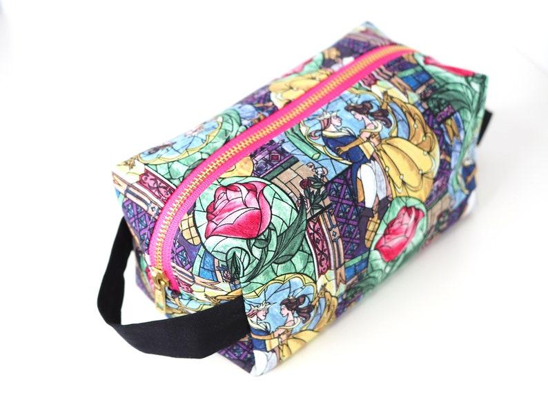 c739cb188667 Beauty & the Beast LARGE Boxy Bag, Disney Makeup bag, Fairytale Princess  Travel Toiletry Bag, Fabric Dopp Kit, Gift for Travelers