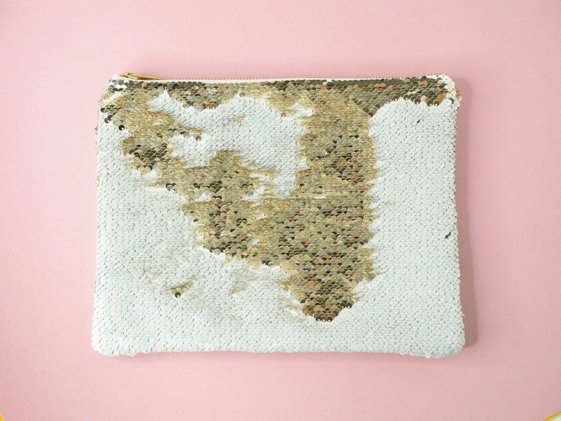 Ivory & Gold Sequins Faux Leather Party Clutch 8x10 Evening image 0