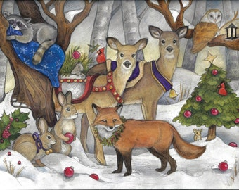 Christmas in the Forest...Blank Card...Christmas Card...Canada...Canadian Christmas....Woodland
