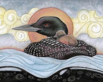 Blank Art Card... Morning Loon by Lisa Ferguson...Loon Art...Bird Art...Canadian Art...Canada
