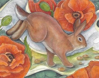 Through The Poppy Garden by Lisa Ferguson....Blank Art Card....rabbit Art...Poppy Art...Canadian Art