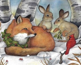 Blank Christmas Card....The Magic of Christmas Eve by Lisa Ferguson...Canadian Christmas Card...Canada...Fox...Rabbits