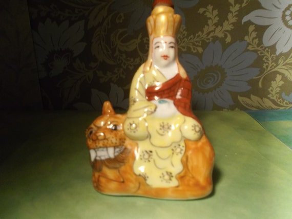Your Choice of Vintage Hand Painted JingDeZhen Snuff Bottles of Rohan or RuoHan Riding a Tiger or  with Dragon coiled around him