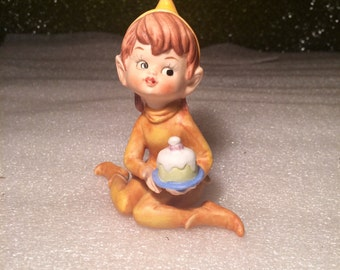 Vintage Celebrating Pixie Elf Figurine