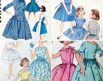 4 Vintage 60' sz 8 Girls' Dresses Sewing Patterns Full Skirts Sleeveless Spring (0271)