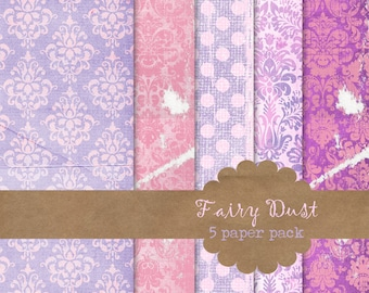INSTANT DOWNLOAD Fairy Dust Digital Paper textured pink purple princess damask dots commercial use ok