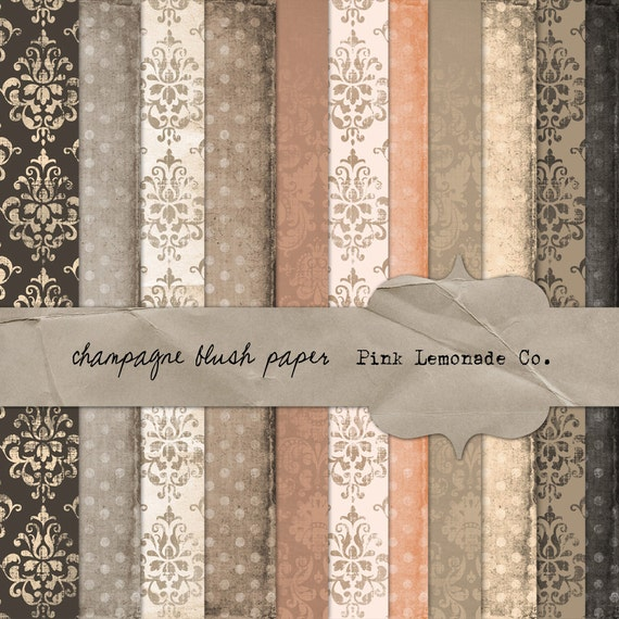 Champagne Blush Paper Pack Eleven Papers Digital Textured