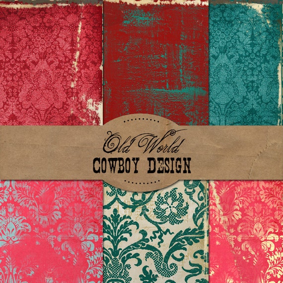 Old World Cowboy Design Digital Papers Commercial Use Okay