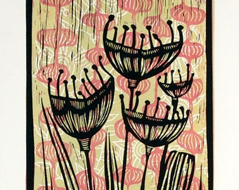 linocut printed on paper, Pods, handprinted and signed, limited edition art, pink and green