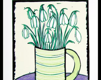 linocut, Snowdrops, spring time, green and purple, printmaking, flower print, modern decor, modern art, nature print, flower posy, green mug