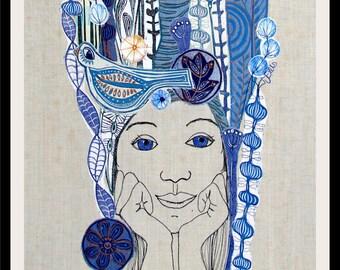 linocut, collage, floral collage, portrait, textile art, fiber art, bird art, original art, handprinted, unique collage art, blue and yellow