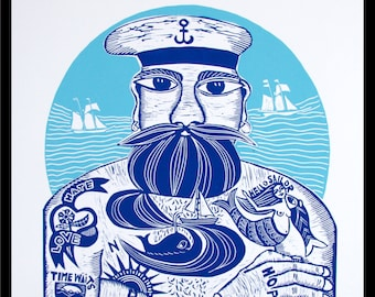 linocut, Tattoodles, blue and white art, tattoo print, sailor print, full beard art, gift for him, sailing, ships, ocean, seaside, beach