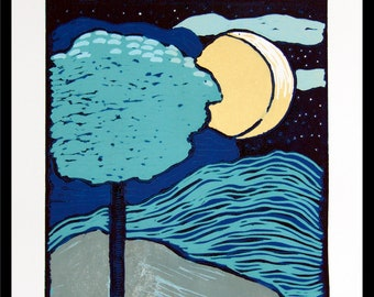linocut, dark sky, midnight, blue, full moon, moon, tree, landscape, printmaking, art on paper, semi abstract, stars, blue and yellow