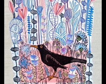 collage, linocut,  blackbird, bird art, floral collage, flowers, pink and blue, nature, landscape art, handprinted fabrics, fiber art,