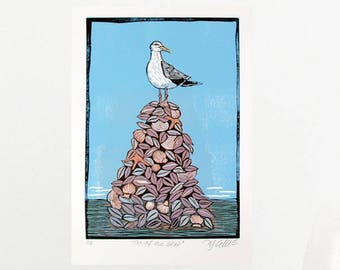 linocut, seagull, fish, printmaking, beach house decor, beach, seashells, sand, ocean, seaside, bird, blue, original art, home interior,