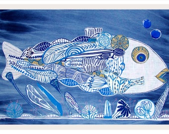 linocut collage, fiber arts, fish, ocean, blue and white, textile art, one of a kind, fishing, deep sea, indigo blue, denim, fabrics,