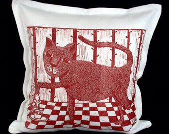 linocut, decorative pillow cover, Cat, red and white, cushion cover, linen fabric, textile art, kitty, cup of tea, printmaking, hand made